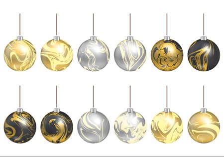 solemn: Christmas decoration. New year ball. Marbling art. Set solemn decor.