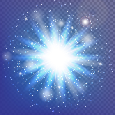 Burst background. Bokeh lights. Lightning vector. Christmas ornaments. Illustration of a transparent backdrop.