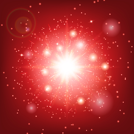 fascinated: New year background. Abstract light. Sparks vector. Sunlight rays. Illustration of a red backdrop.