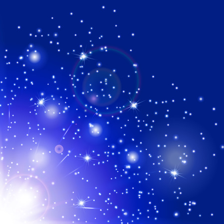 spellbinding: Snowflake background. Flare light. Burst vector. Magic wand. Sun glow. Illustration of a azure backdrop.