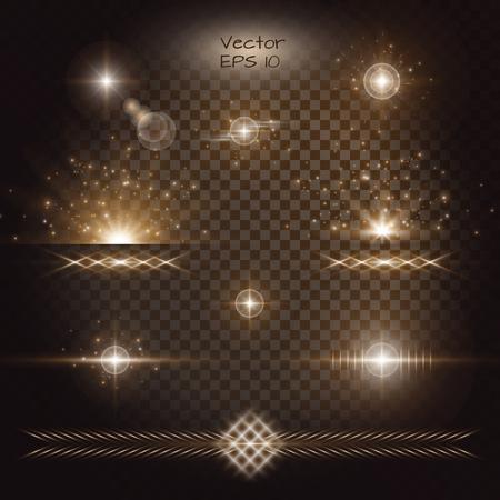 雷。ゴールドのボケ味。レンズ フレアのベクトル。透明な背景に黄金の光の効果のセットです。