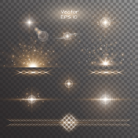Light background texture. Stage vector. Magic stars. Sunshine rays. Set of golden light effects on a transparent backdrop.