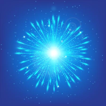 cerulean: Shine background. Fairy lights. Blue bokeh. Glow vector. star glow. Illustration of a cerulean backdrop.