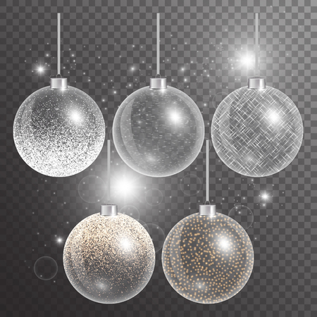 Christmas ball isolated. New year decorations.  Abstract light. Set of holiday elements. Vector illustration of a transparent backdrop.