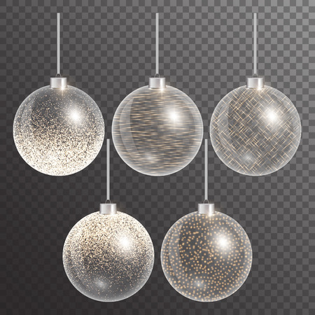 impish: Christmas decoration. New year ball.  Gold lights. Set solemn decor. Vector illustration of a transparent backdrop.