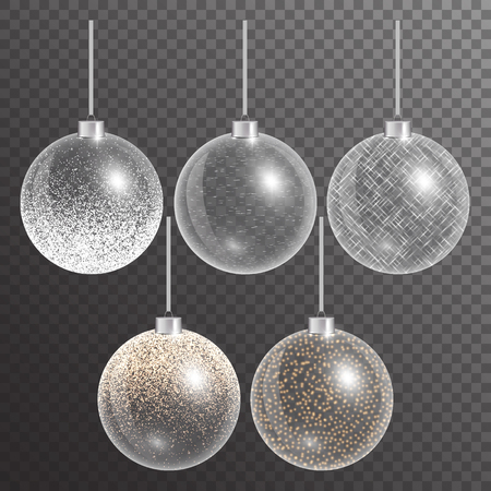 Christmas ball ornament. New years eve. Fairy lights. Set of festive decorations. Vector illustration of a transparent backdrop.