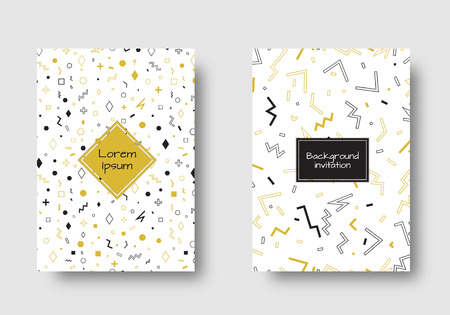 Geometric abstract background. Retro pattern. Set for cover, flyers, leaflets, promotional offers, greeting, brochures, booklets. Vector decoration