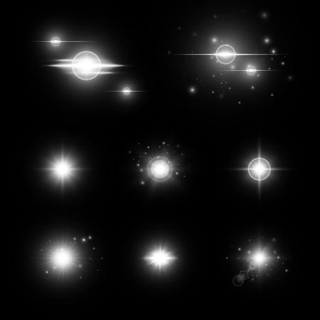Snowflake background. Flare light. Christmas bokeh. Sparks vector. Sun flare. Sunlight rays. Illustration of a dark backdrop.