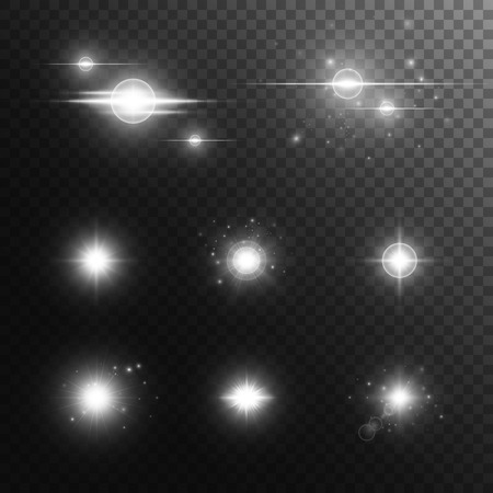 Sparkle background. Christmas lights. Lens flare. Sparkle vector. Stage spotlight. Spotlight isolated. Illustration of a transparent backdrop.