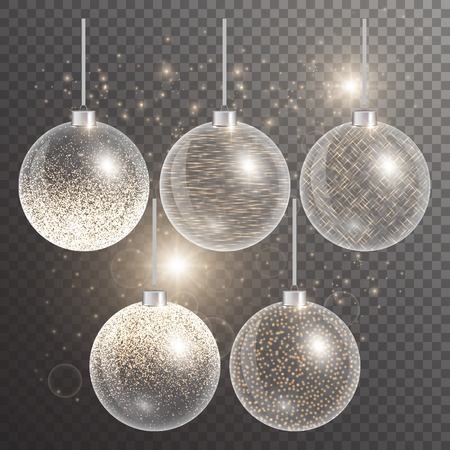 remnant: Christmas balls hanging. New year celebration. Glowing lights. Set of celebrations items. Vector illustration of a transparent backdrop.