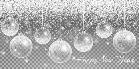 stardom: Christmas balls hanging. New year light. Bling background. Sparks vector