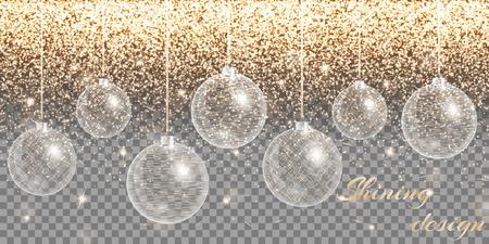 remnant: Christmas decoration vector. New year celebration. Bokeh lights. Golden background