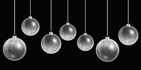 Christmas ball snow. New years eve background. Vector abstract