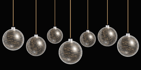 Christmas balls hanging. New year 2017. Happy holidays vector