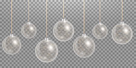 Christmas ball. New years decoration transparent background. Vector design Vetores