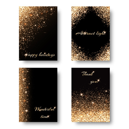 glitzy: Set of backgrounds with holiday lights for decoration greeting cards. Christmas ornament with shiny confetti Illustration