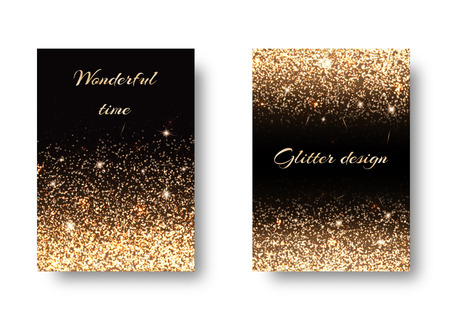 Set of backgrounds with shining golden lights against a black backdrop. Festive decoration of New Years Eve Çizim