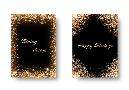 backs: Glitter background for festive decoration. Set backs with golden light effects. Celebrating the New Year, 2017