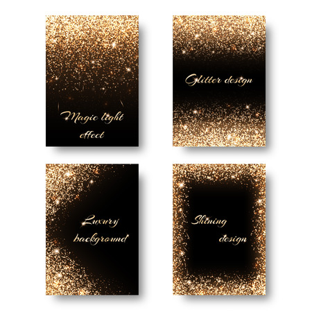 remnant: Set of backgrounds with golden lights to design greeting cards. Christmas decorations with glitter. Illustration