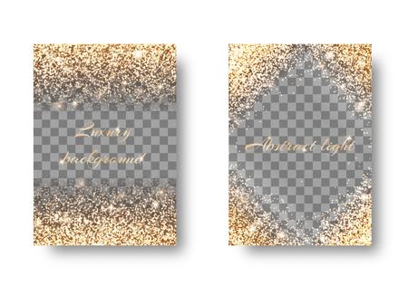 Set golden light transparent background