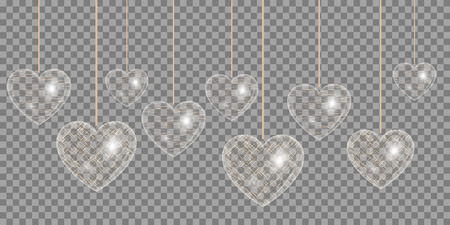 Heart of gold effect on a transparent background