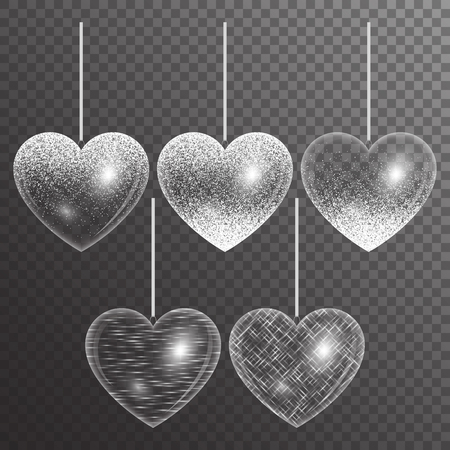 Set of hearts in silver style