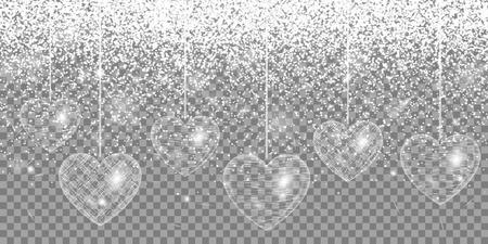 spellbinding: Heart silver glitter on a transparent background Illustration
