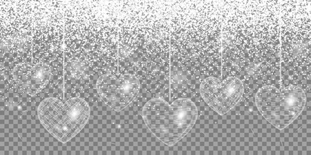 Heart silver glitter on a transparent background Illustration