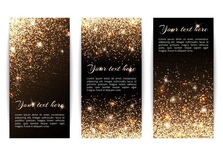 Set of banners with sparkles on a black background Illustration