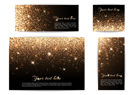 glitzy: Set of different size banners with highlights on a black background