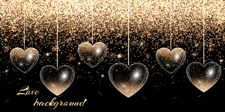 Valentines Day background with hearts and gold glitter Illustration