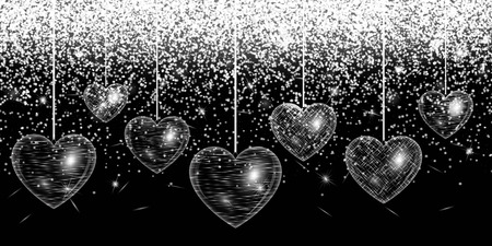 natty: Romantic design with hearts on an abstract sparkling background