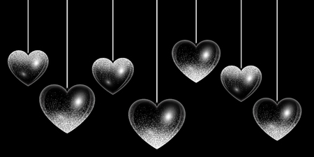 Set of hearts in silver style with light effects Illustration