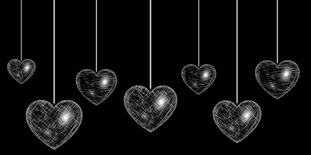 spellbinding: Valentines Day heart decorated with a silvery light effect Illustration