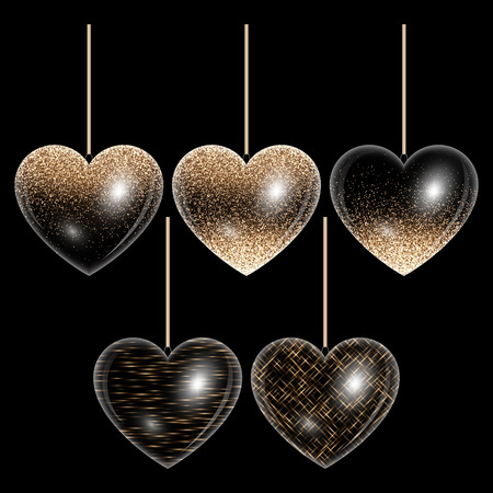 Set of hearts in gold style for decorating romantic greetings Illustration