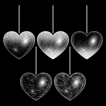sophistication: Set of hearts with light effects and silver highlights