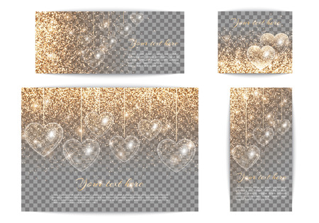 Set of romantic banners of different sizes in gold style. Luminous background with light flare. Glowing heart on a transparent backdrop. Illustration