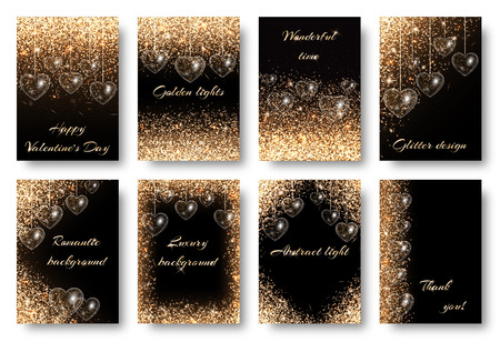 sumptuous: Valentines Day background with twinkle lights. Golden dust particles on a black backdrop. Design to celebrate marriage invitation card.