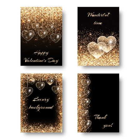 impish: Love background with light effect. Sequins pattern on a black backdrop. Design to celebrate marriage ceremony Illustration