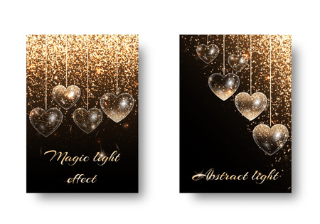 Marriage background with glowing lights. Twinkle little star on a dark backdrop. Design to wedding invitation