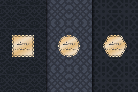 susceptible: Set of vintage backgrounds for design packing luxury with gold frame. Geometric texture vector.
