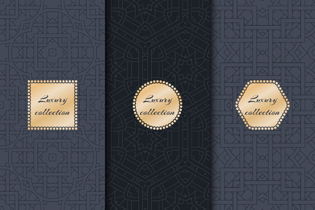 womanlike: Collection of luxury for the rich backgrounds of packaging with gold elements. Geometric abstract pattern.