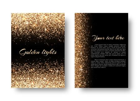 Glimmer background with bright light. Dust particles on a black backdrop. Ilustração