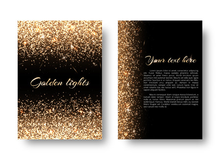 Glimmer background with bright light. Dust particles on a black backdrop. Illustration
