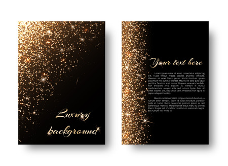 Glimmer background with flare light. Glitter sparkle on a black backdrop.