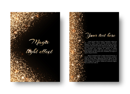 Glimmer background with glowing lights. Glittering gold on a black backdrop. Illustration