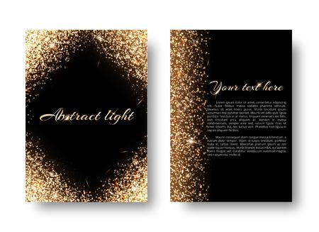 Glimmer background with light burst. Shiny gold on a black backdrop. Illustration