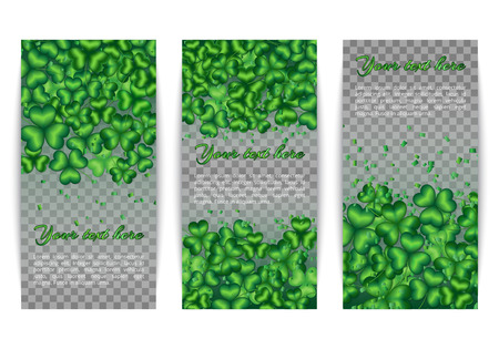 patric: Banners with shamrock background on a transparent backdrop. Spring set for design Saint Patricks Day