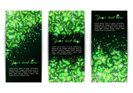 A set of vertical banners in the style of Saint Patricks Day. Glitter background with shimmering lights and a pattern of shamrocks