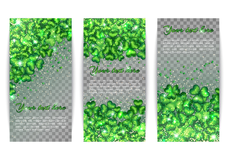 patric banner: A set of banners for the design on St. Patricks Day on a transparent backdrop. Glitter background with light effect and clover pattern Illustration